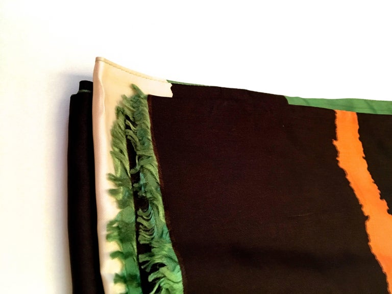 Black Vintage Scarf - 100% Silk - 1960's For Sale