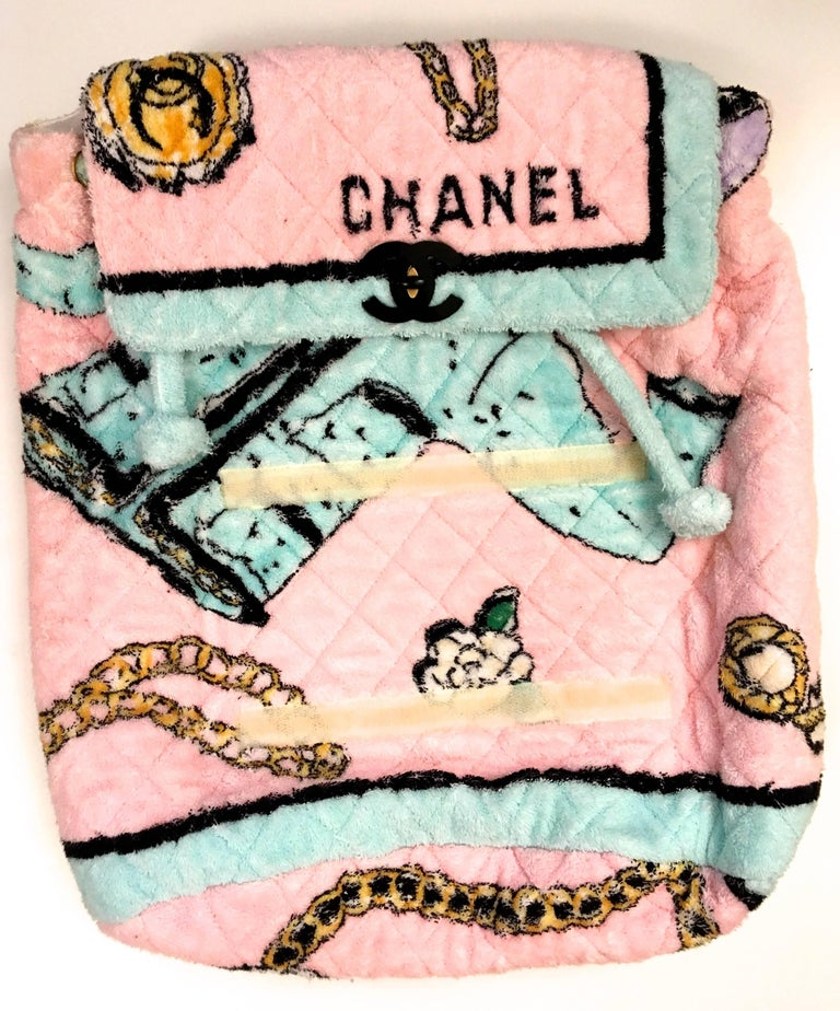 Rare Chanel Terry Cloth XL Backpack - 1994 - Mint Condition 4