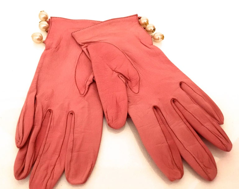 Chanel Leather Gloves with CC Logo Pearls 2