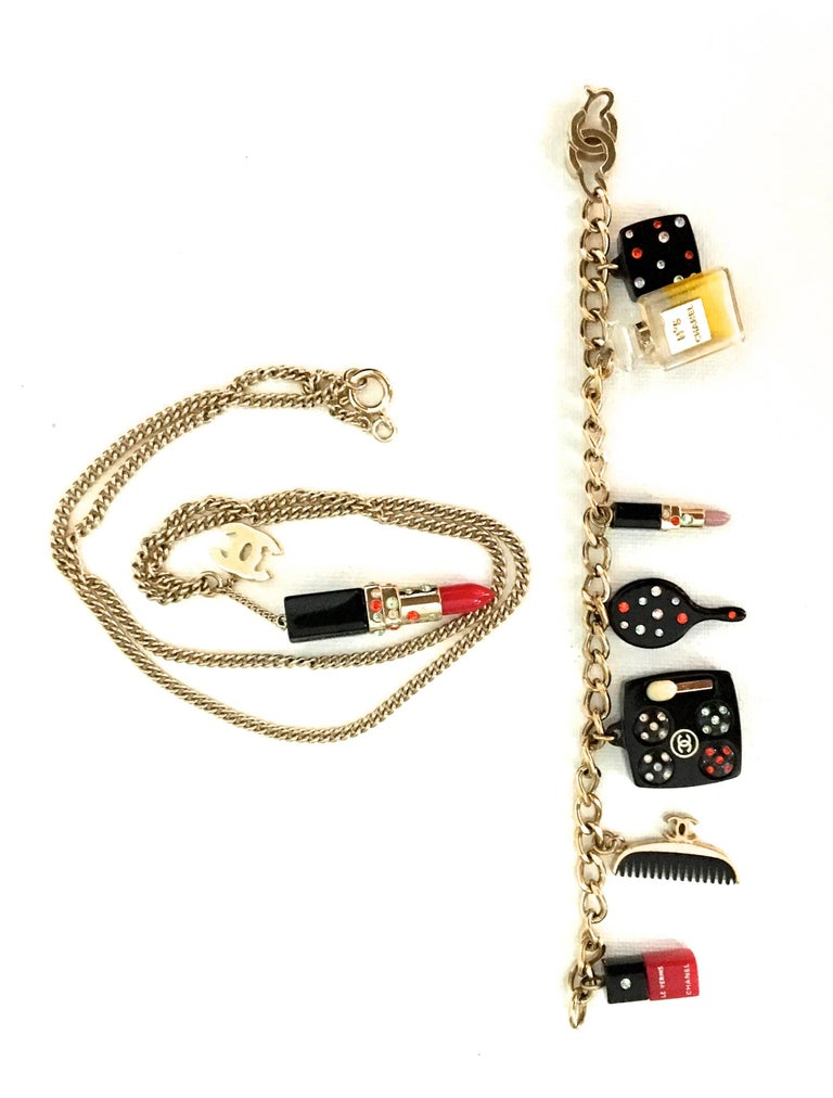 Chanel Lipstick Charm Necklace And Matching Bracelet