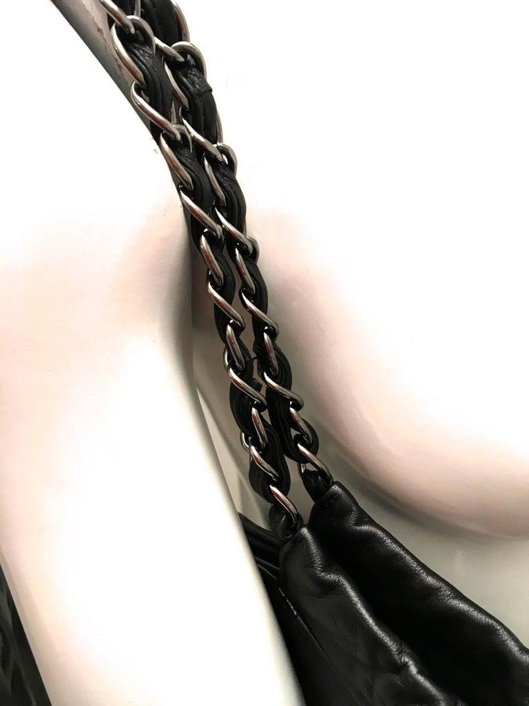 Women's or Men's Chanel Purse - Black Lambskin / Patent Leather - XL For Sale