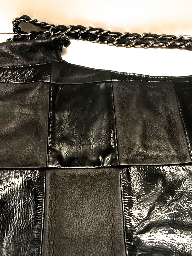 Chanel Purse - Black Lambskin / Patent Leather - XL For Sale 5