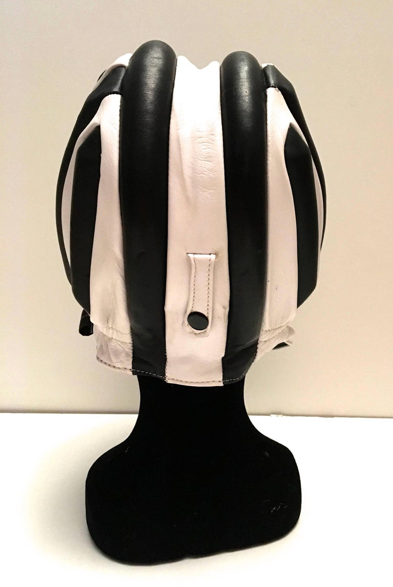 Black 1950's Leather Racing Helmet - Extremely Rare - Mint Condition For Sale