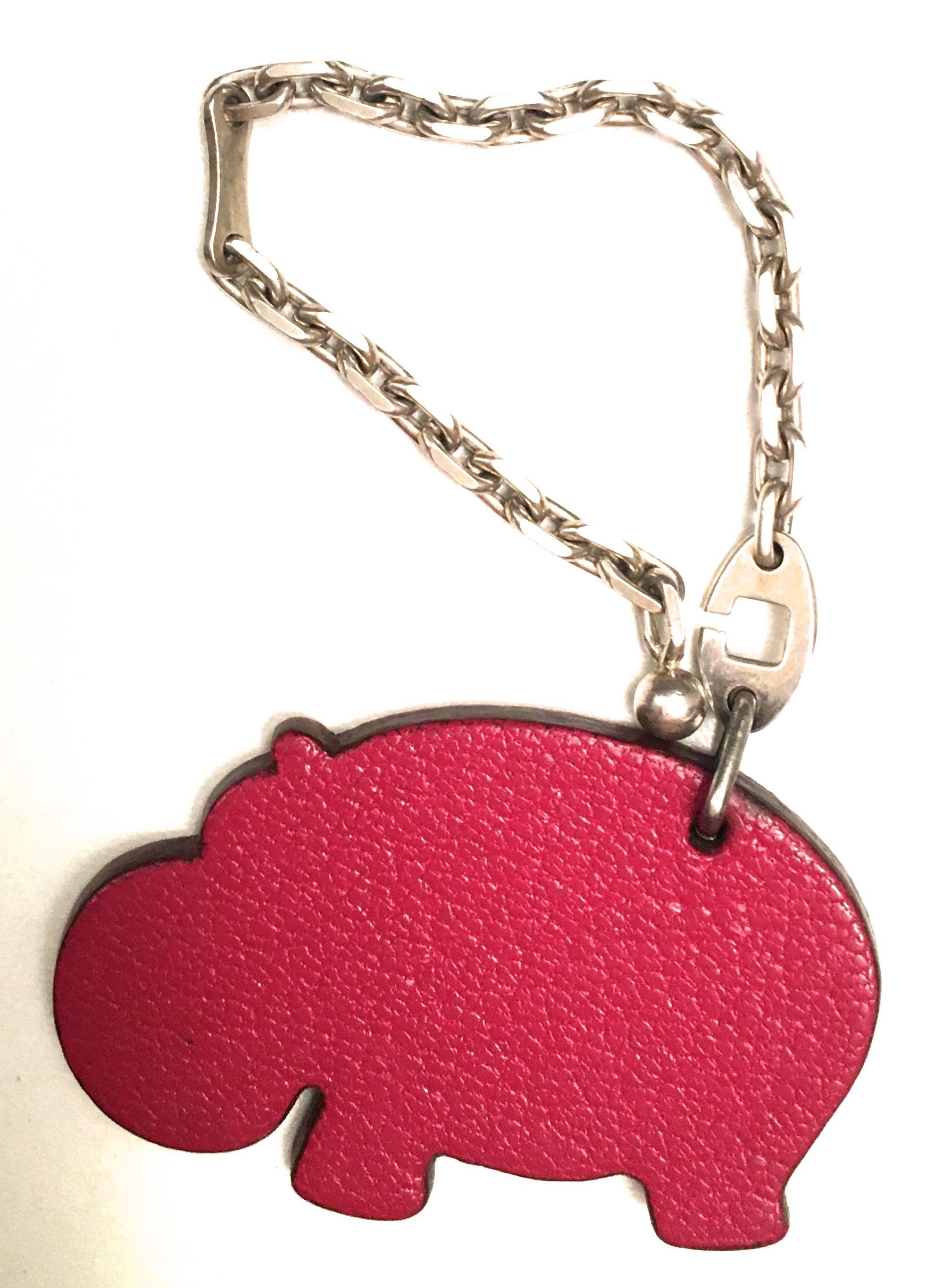 Hermès Hermes Charm / Keychain - Hippopotamus - Sterling Silver / Leather 5Q06nM