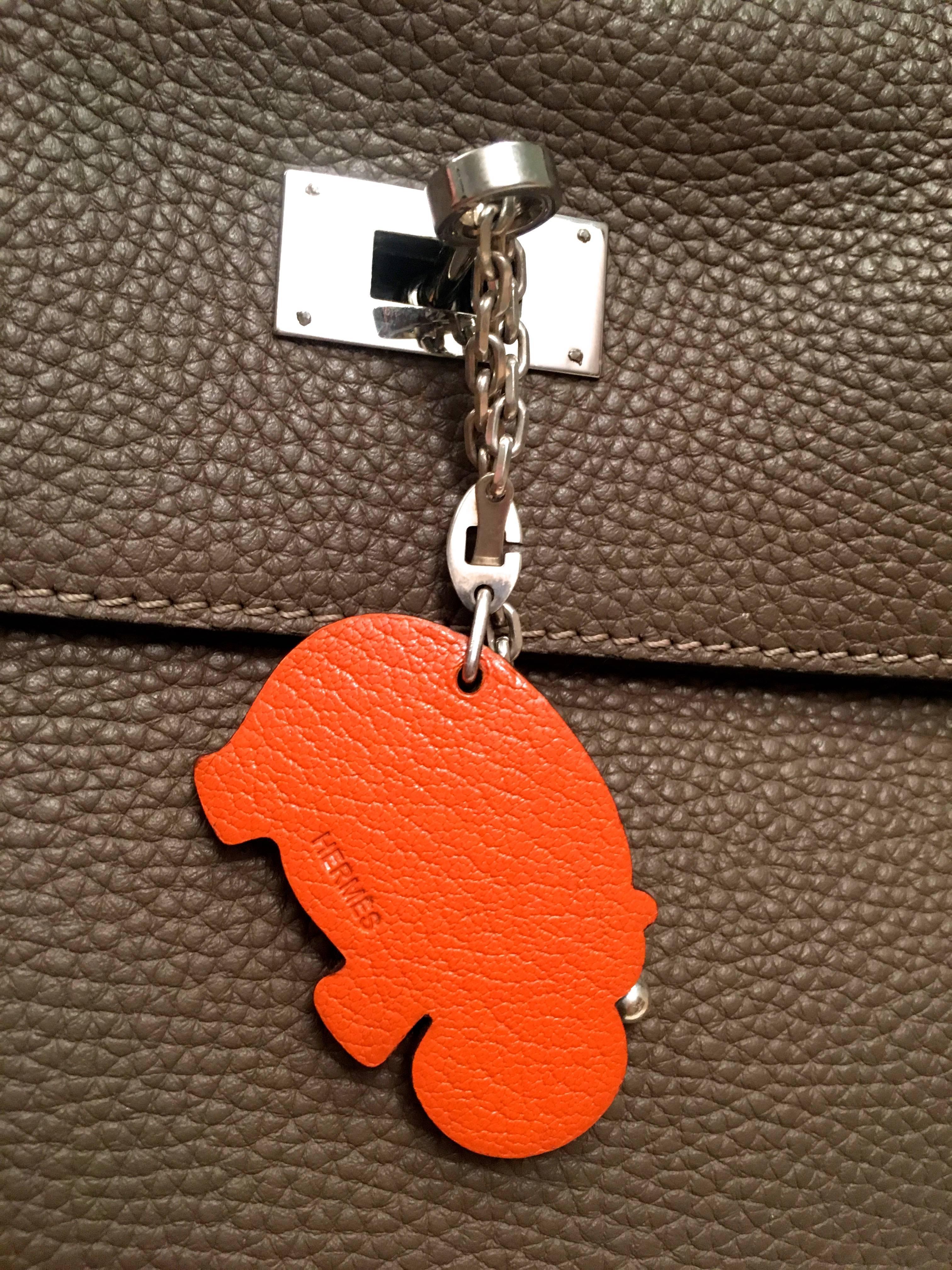 Hermès Hermes Charm / Keychain - Hippopotamus - Sterling Silver / Leather jFcEY4