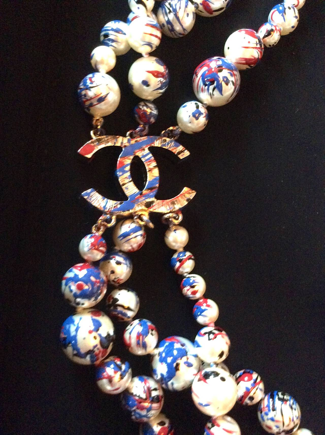 Chanel Necklace - Rare Pearl Graffiti Triple Strand - CC - Red, White, and Blue 3