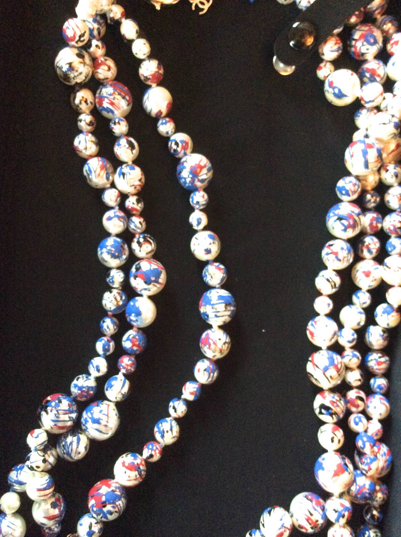 Chanel Necklace - Rare Pearl Graffiti Triple Strand - CC - Red, White, and Blue 4