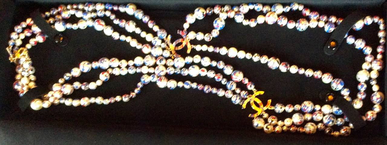 Chanel Necklace - Rare Pearl Graffiti Triple Strand - CC - Red, White, and Blue 2
