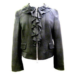 "Moschino ""Cheap and Chic"" Jacket - Black Wool with Silk Crepe Trim"