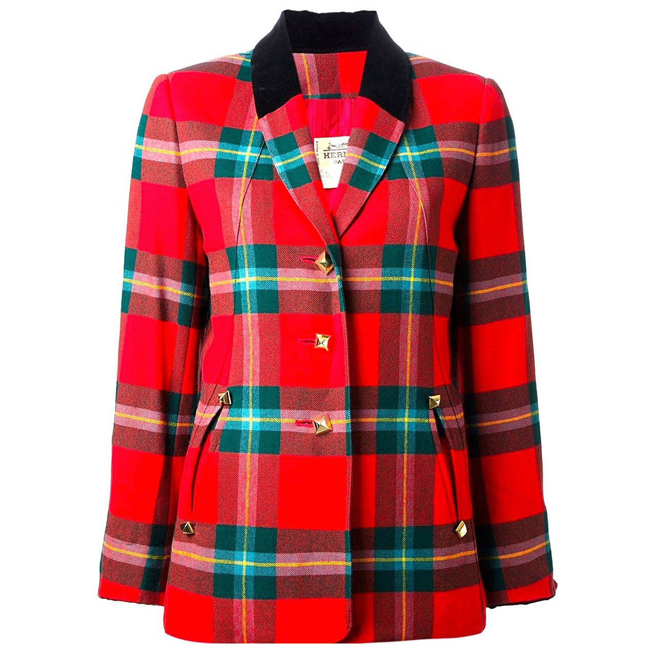 Hermes Tartan Red Plaid Women S Wool Blazer At 1stdibs
