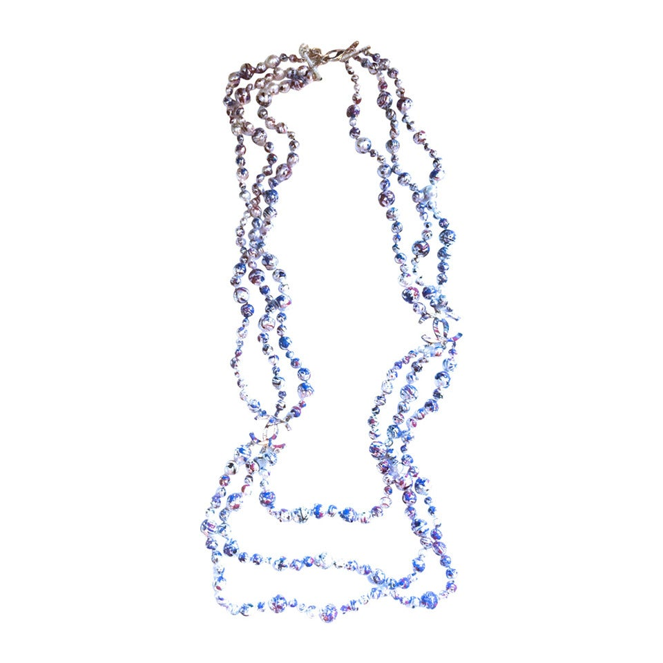 Chanel Necklace - Rare Pearl Graffiti Triple Strand - CC - Red, White, and Blue 1