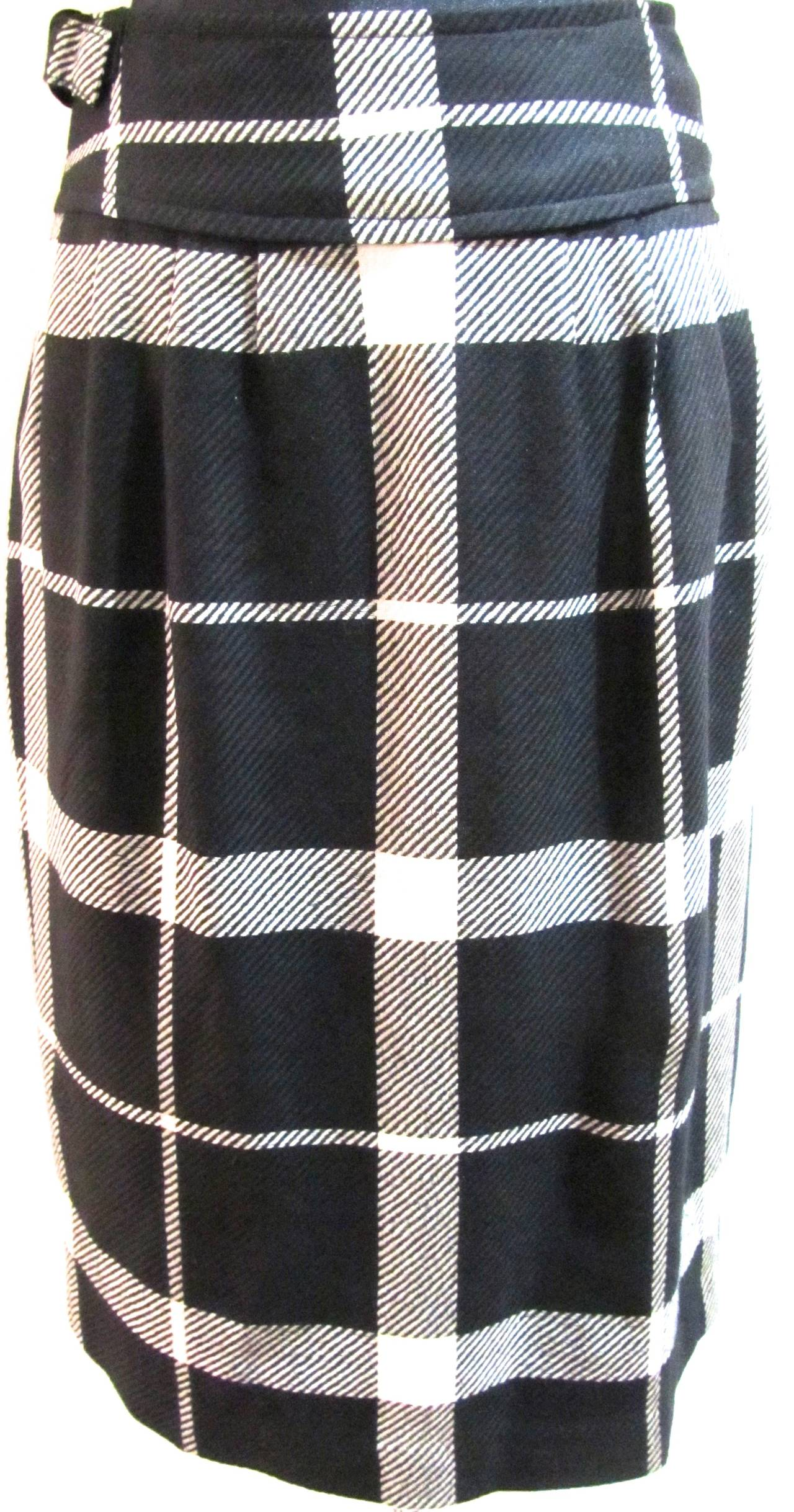 Courreges Black and White Wool Skirt - 1990's 2