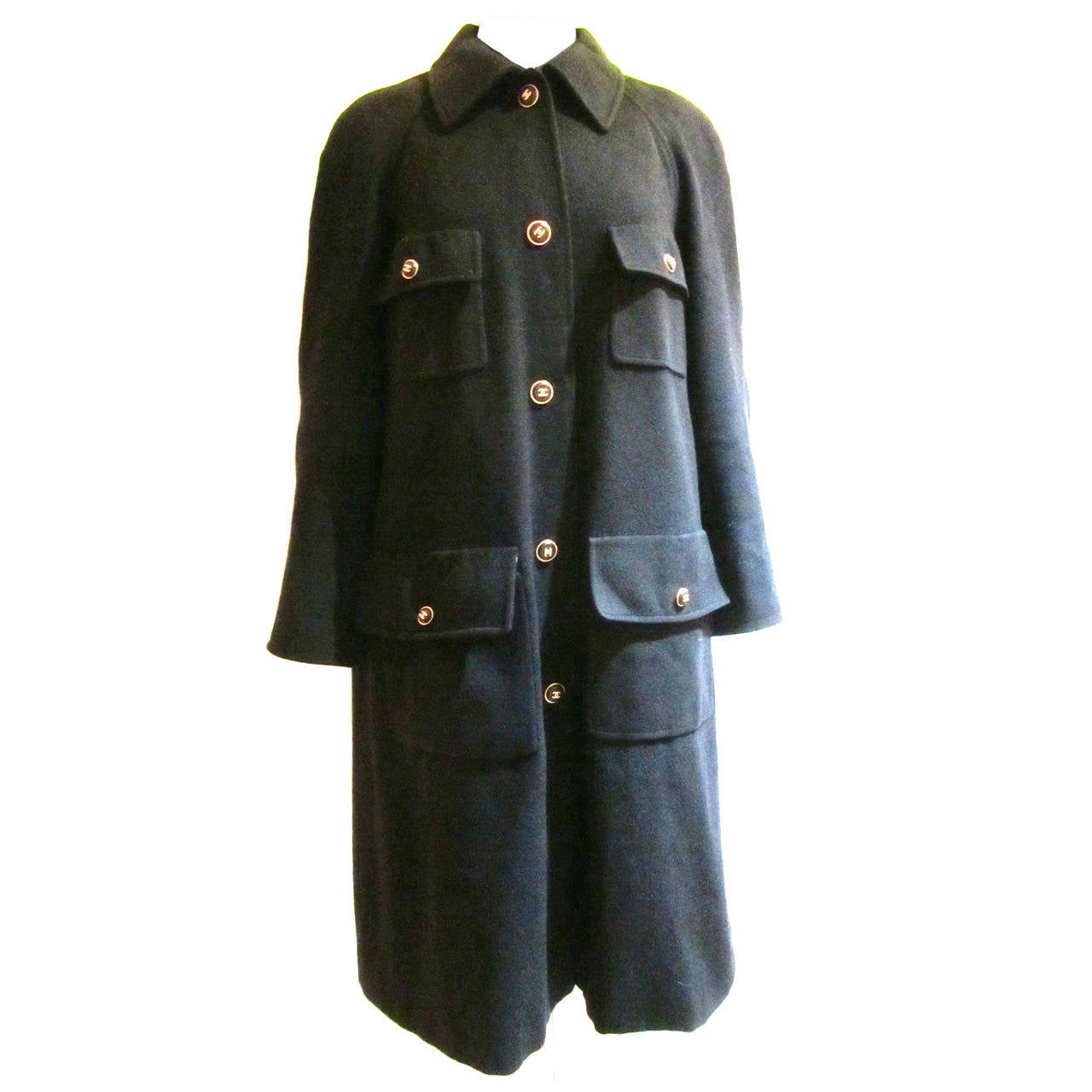 Black Cashmere Chanel Coat with Logo Buttons