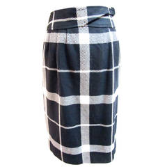 Courreges Black and White Wool Skirt - 1990's