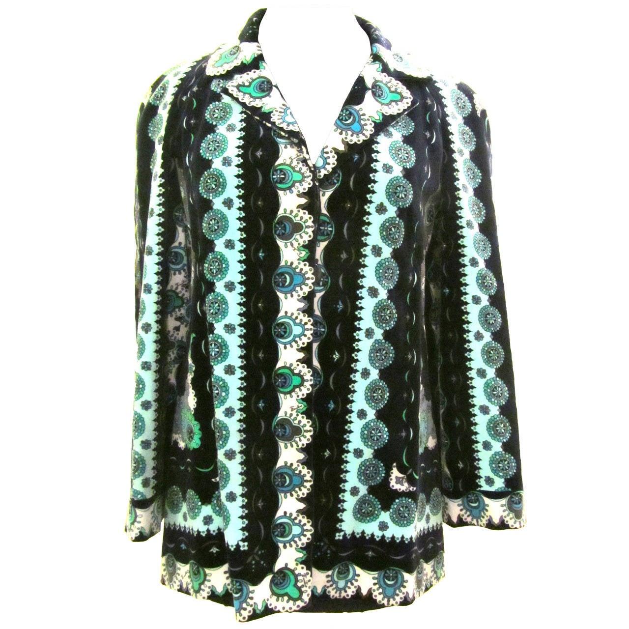 Emilio Pucci Printed Blue Velvet Jacket - 1960's