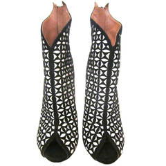 New Alaia Open Toed High Heel Boots - 37 - Black and White Suede