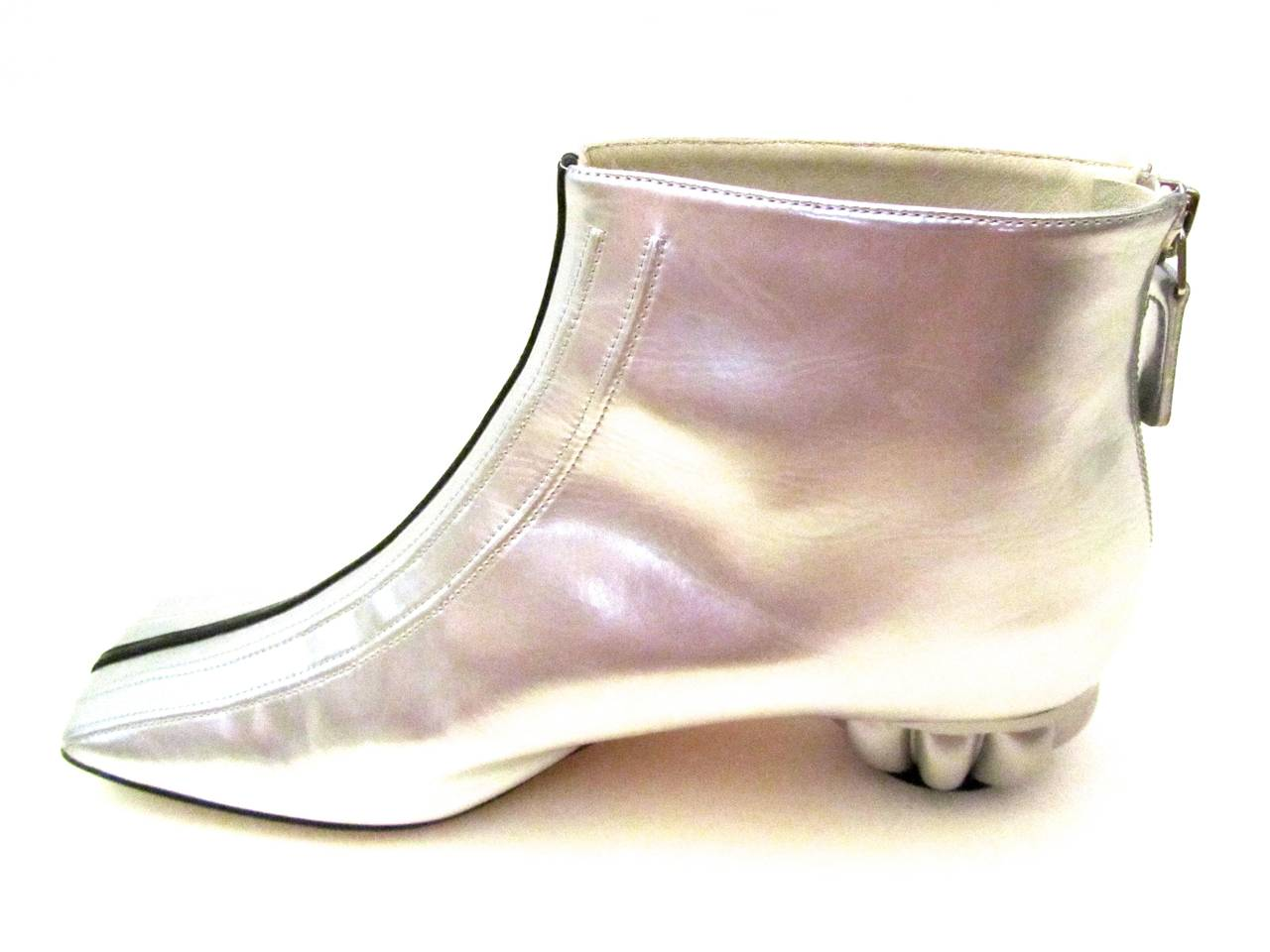 Chanel Boots - Patent Leather - Silver with Black Stripe - Size 37.5 2