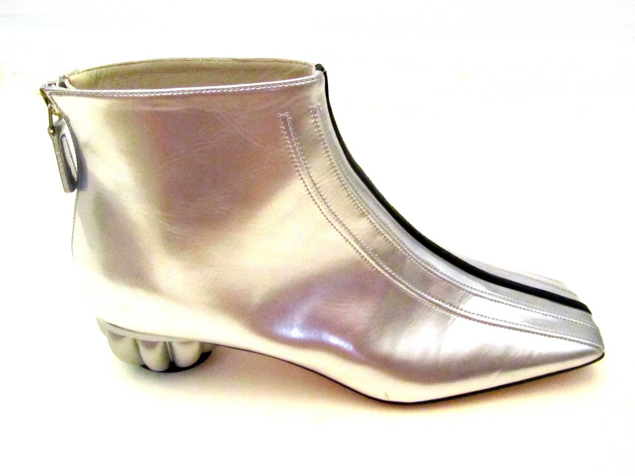 Chanel Boots - Patent Leather - Silver with Black Stripe - Size 37.5 3