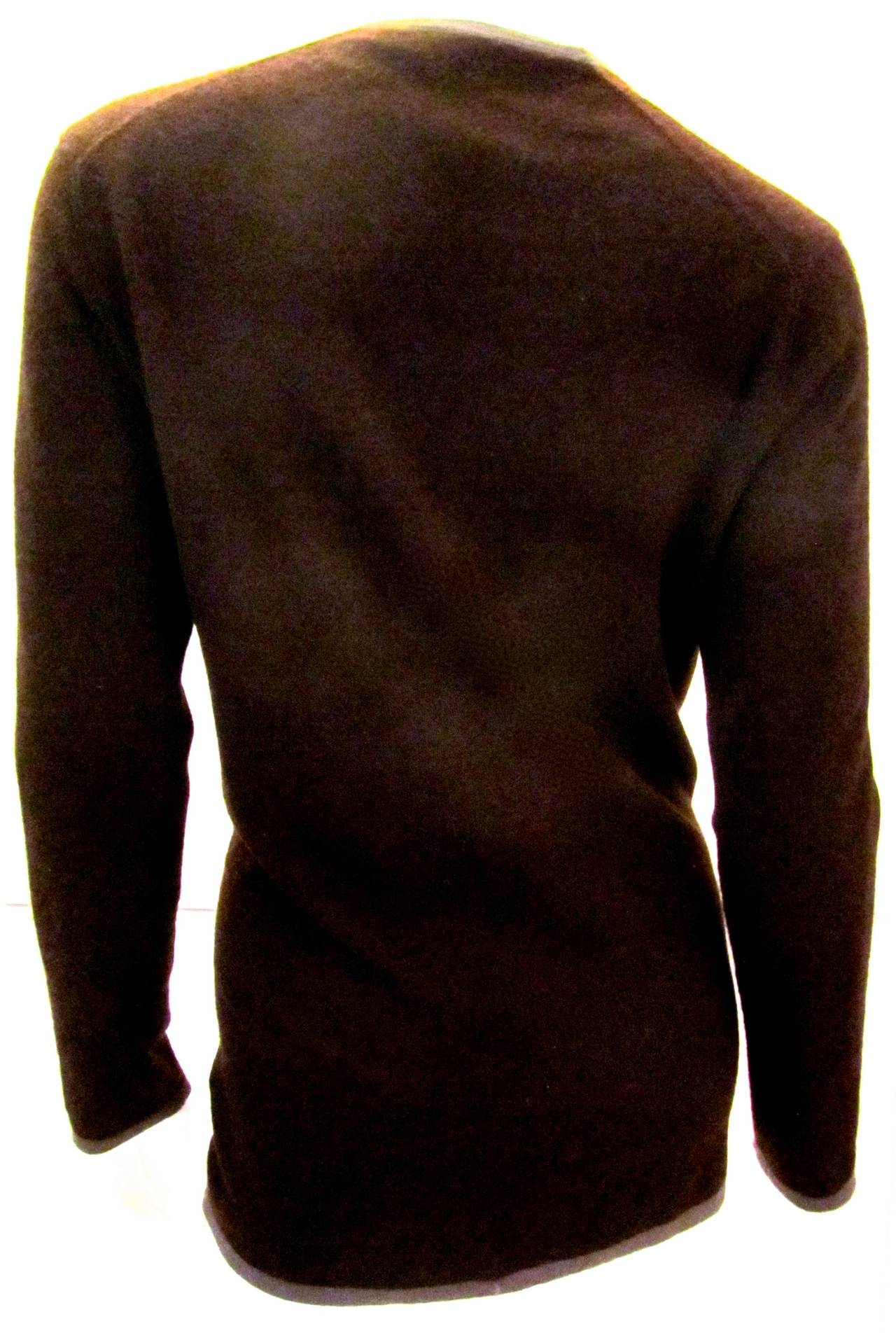 Hermes Brown Cashmere Cardigan Sweater - Bicolor For Sale at 1stdibs
