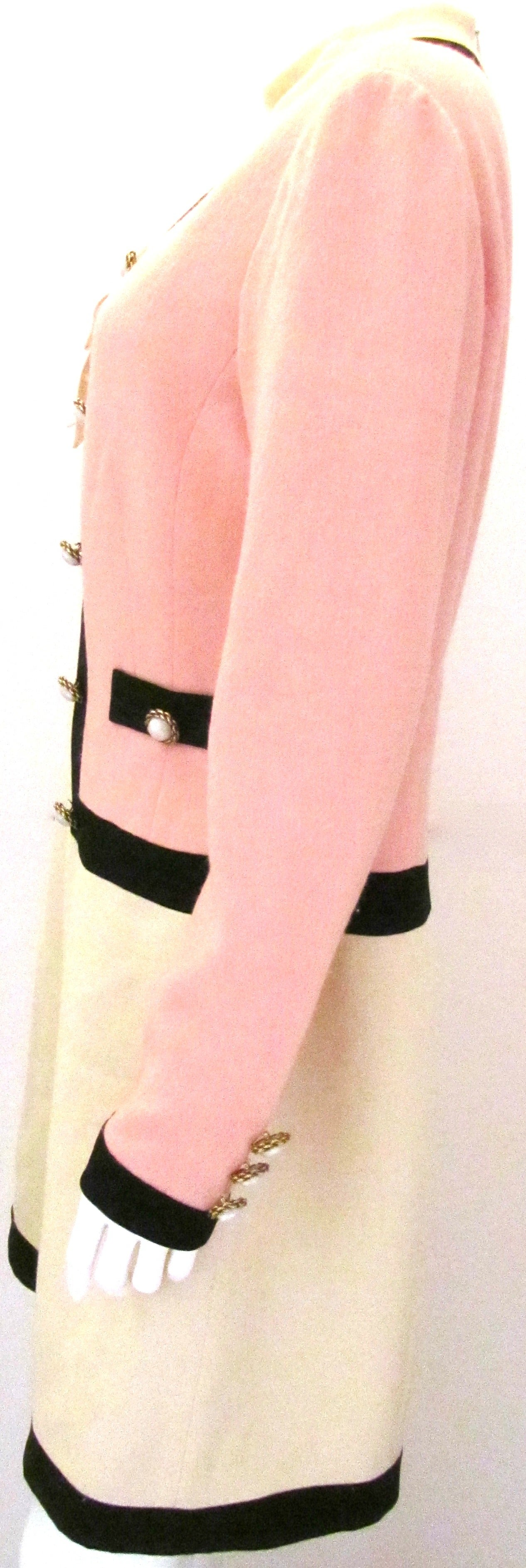 Moschino Runway Dress with Chanel Style Half Jacket In Excellent Condition For Sale In Boca Raton, FL