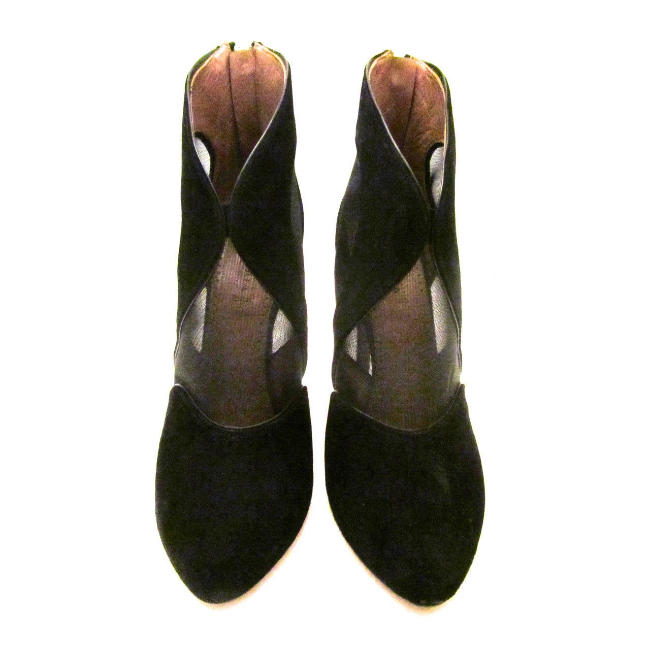 New Alaia High Heeled Boots - Black Suede and Sheer - Size 37.5
