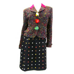Moschino Cheap and Chic Multi-colored Suit with Animal Buttons