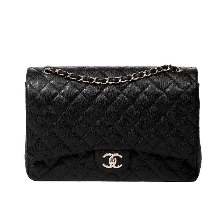 New Chanel Classic Double Flap Maxi Bag - Caviar 1