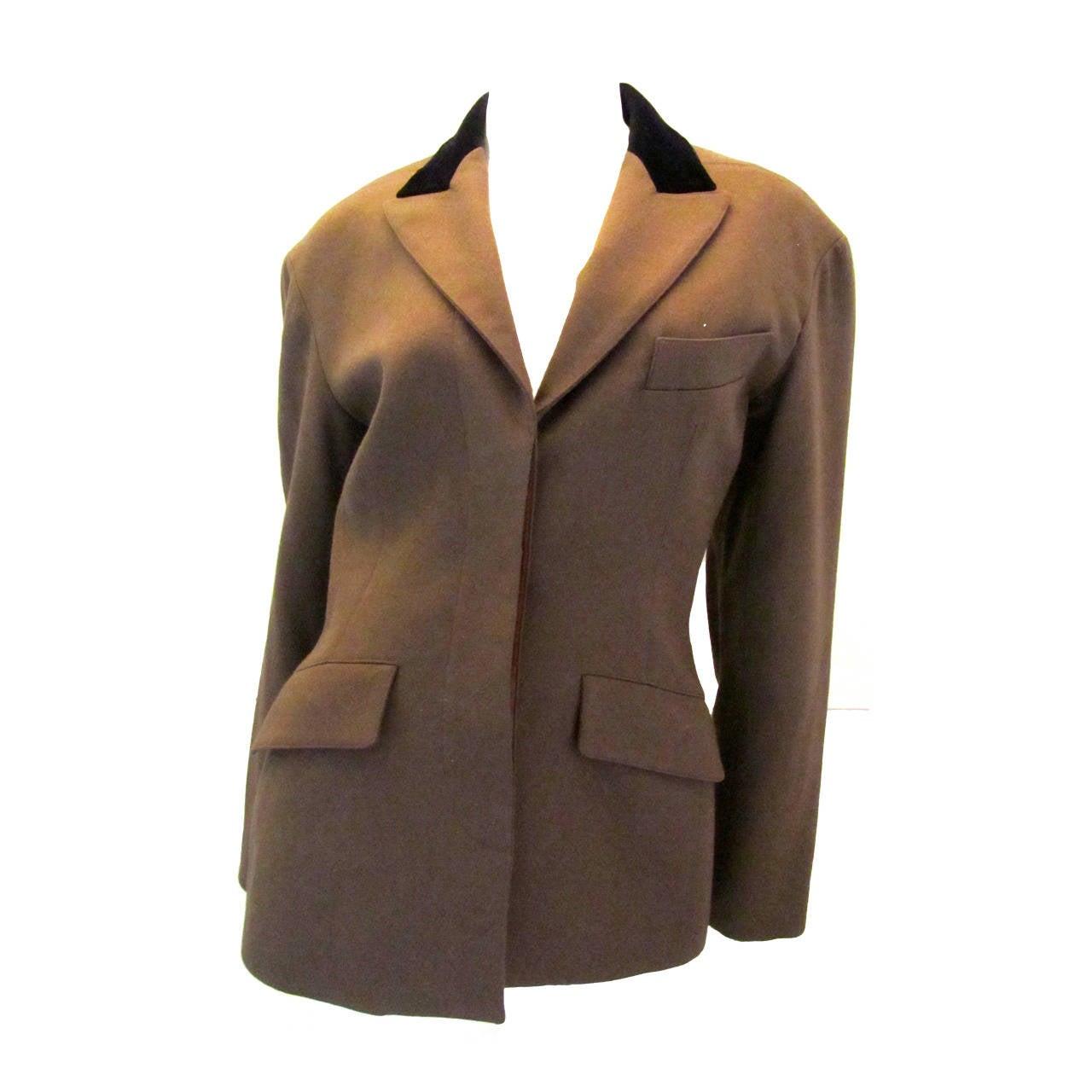 Vintage Alaia Jacket - Brown Wool and Black Velvet - 1980's