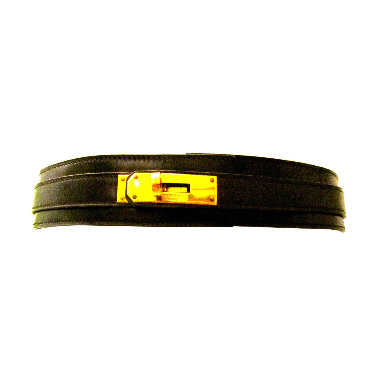 Hermes Brown x Black Leather x Silver Tone H Buckle Belt Size 65