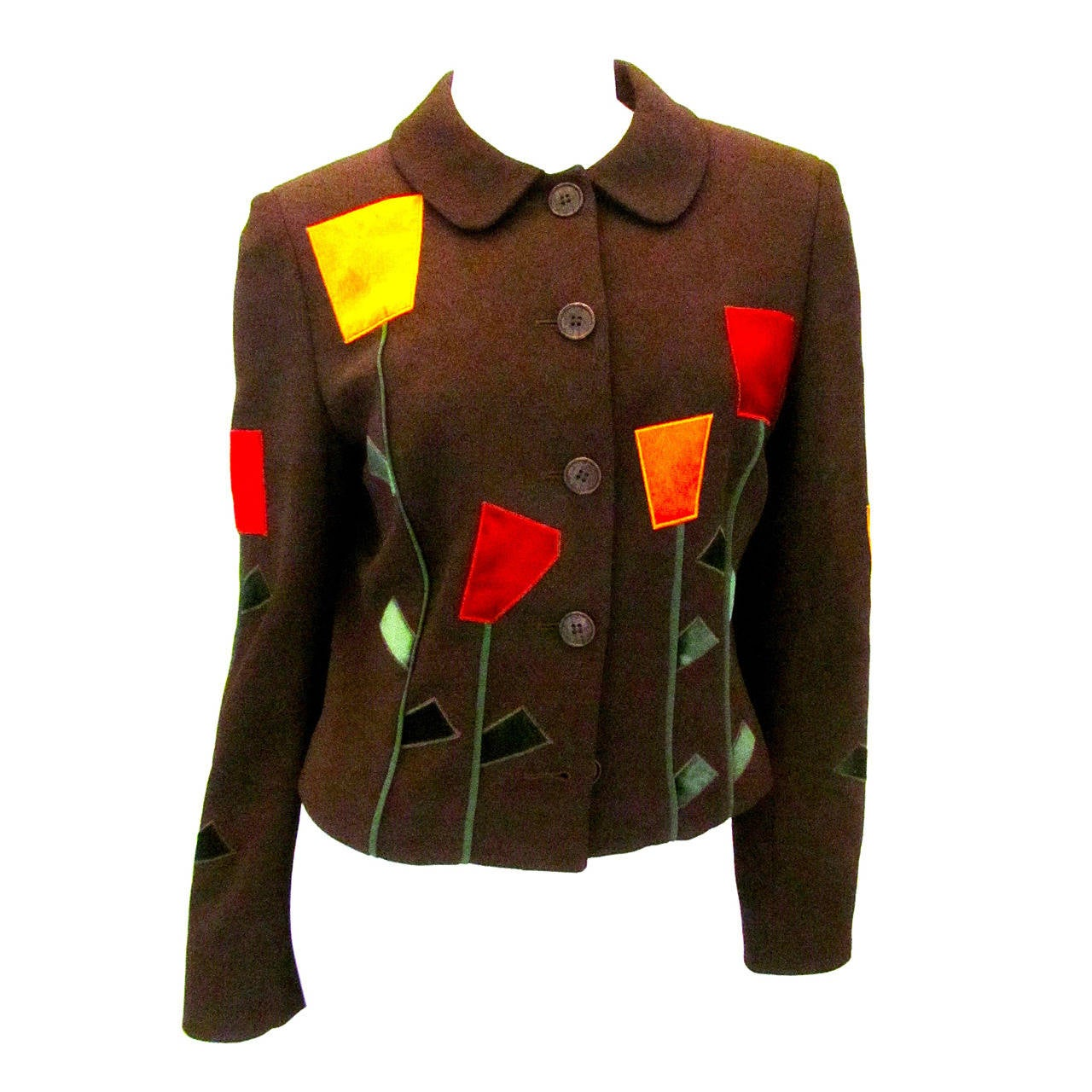 Moschino Brown Geometric Flower Blazer - Size 8 For Sale