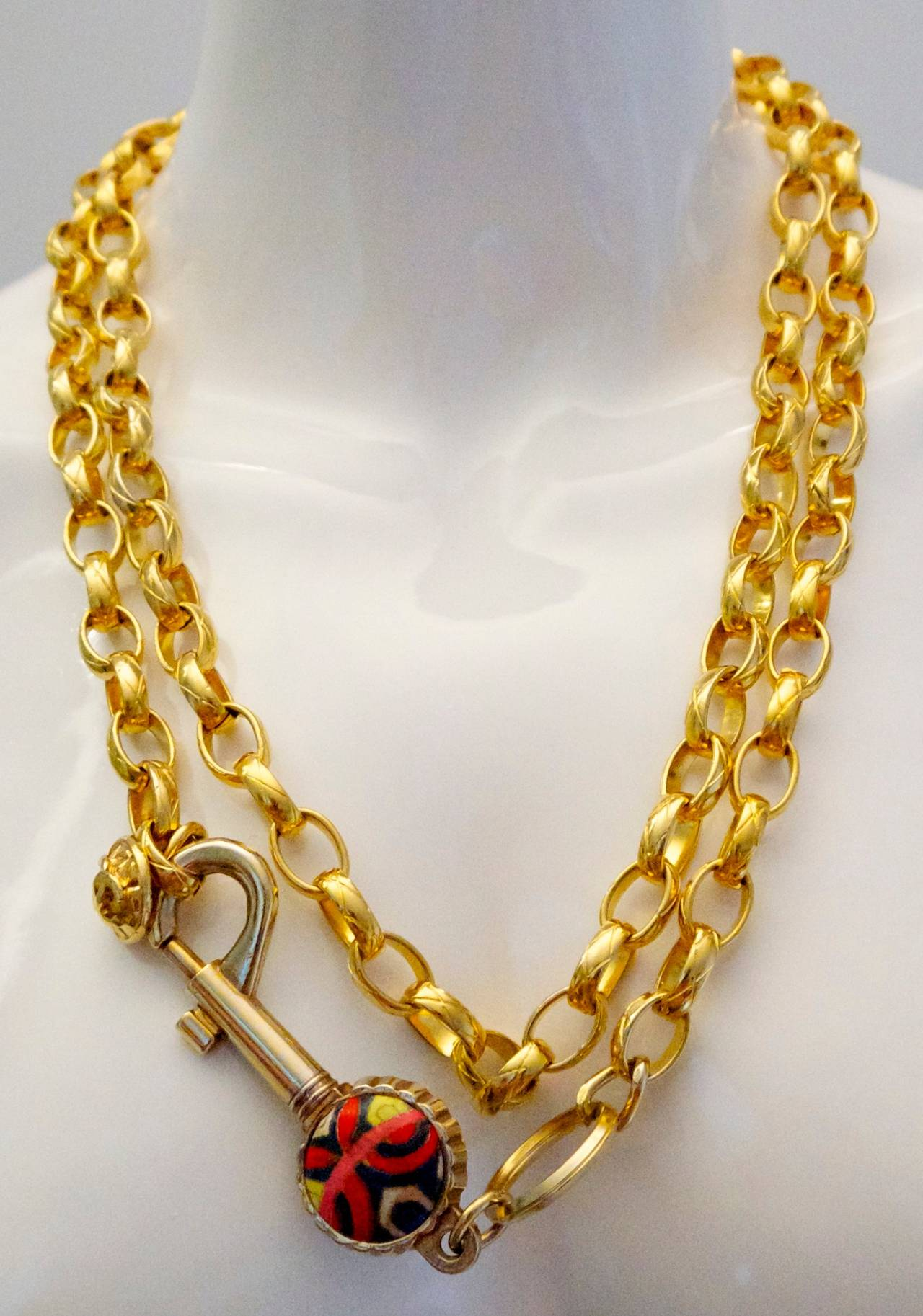 Women's Vintage Chanel Gold Tone Belt / Necklace - Lock and Key - Rare For Sale
