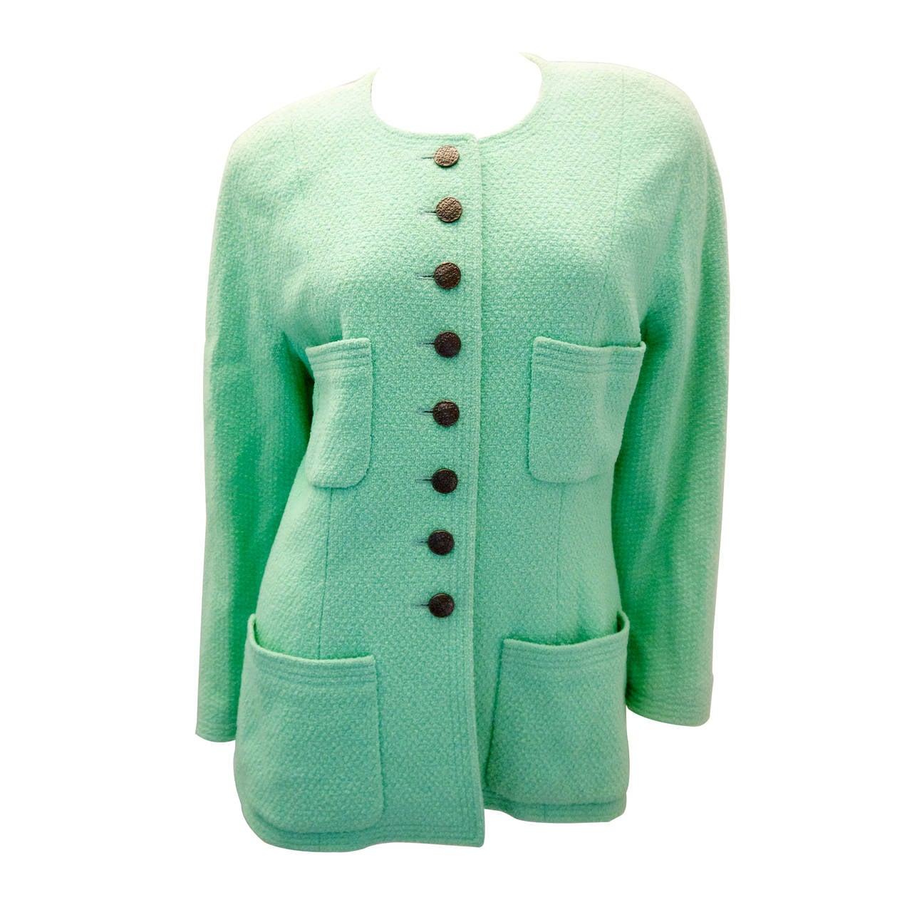 Vintage Chanel Sea Foam Mint Green Jacket - Size 42 For Sale