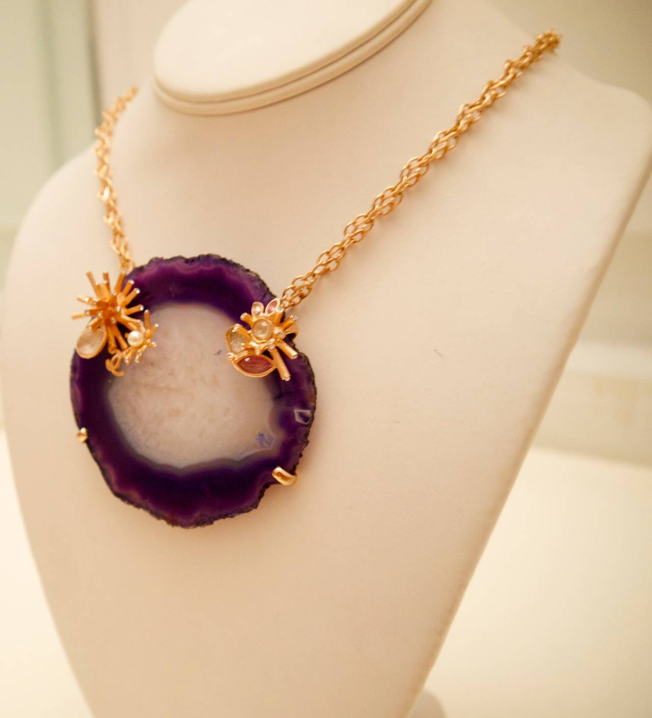 Chanel Purple and White Agate Cross Section Couture Necklace In As New Condition For Sale In Boca Raton, FL