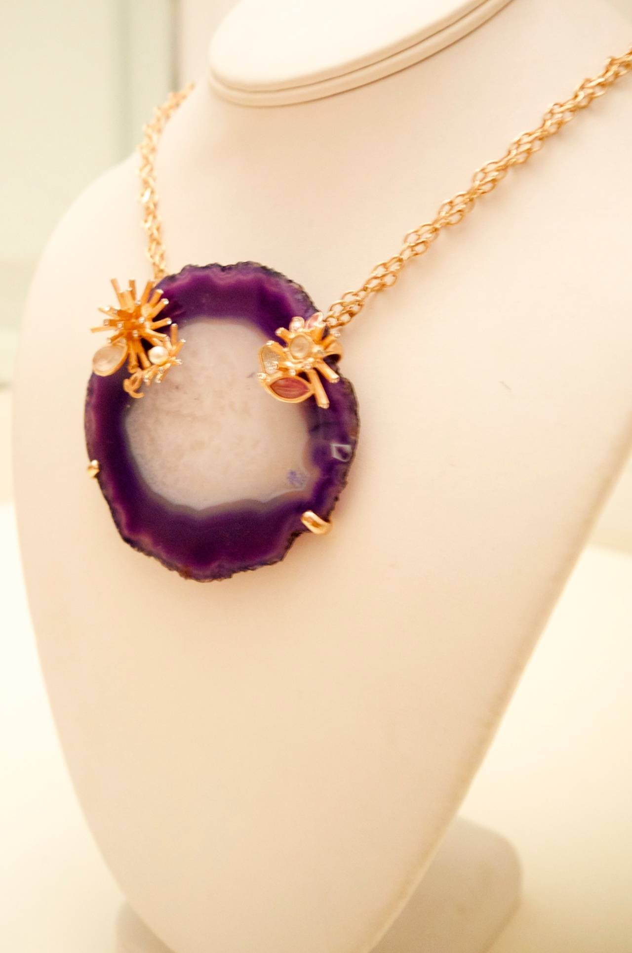 Women's Chanel Purple and White Agate Cross Section Couture Necklace For Sale