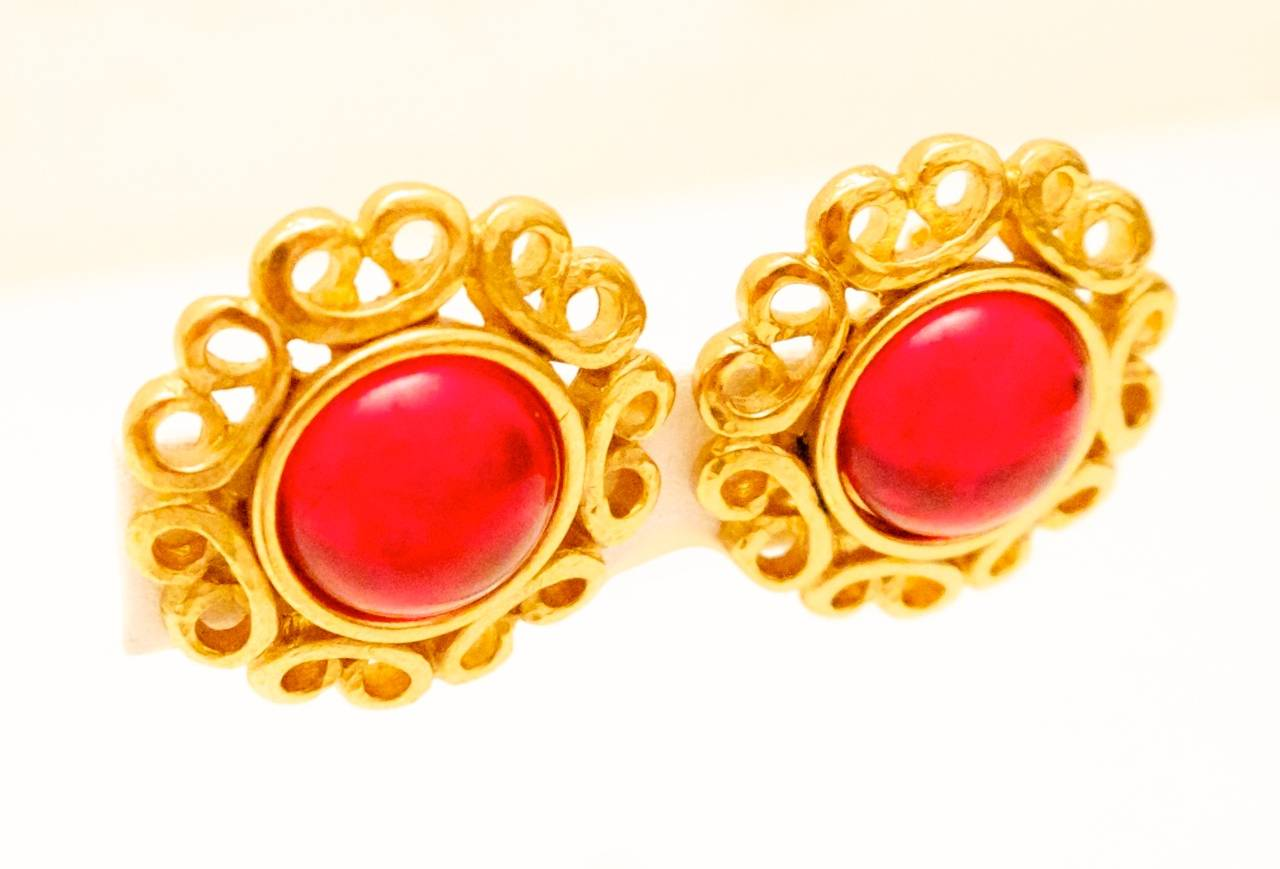 tone jewelry product givenchy stone red lyst normal gold teardrop gallery earrings in