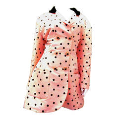 Chanel Pink Blazer with Black Polka Dots - Size 38