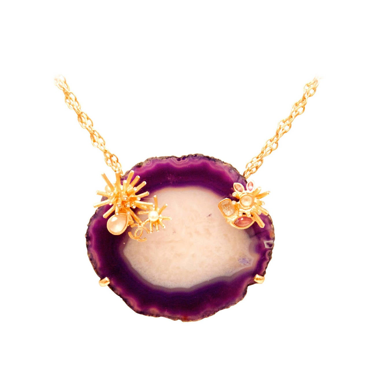 Chanel Purple and White Agate Cross Section Couture Necklace For Sale