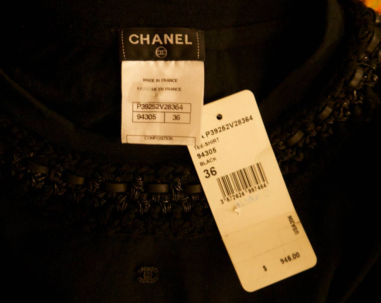 Women's New Chanel Black Top with Intricate Woven Lambskin Collar - Size 36 For Sale