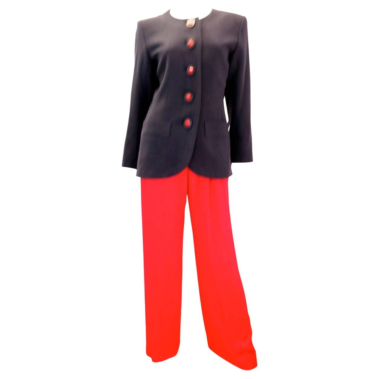 Yves Saint Laurent (YSL) Suit - Black Jacket with Red Pants