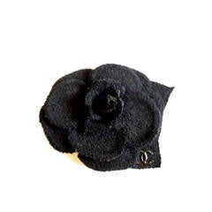 Chanel Black Boucle Camellia Flower Pin with CC Logo