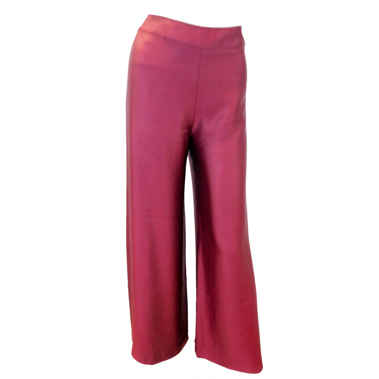 Chanel Burgundy Cocktail Pants with Attached Chain