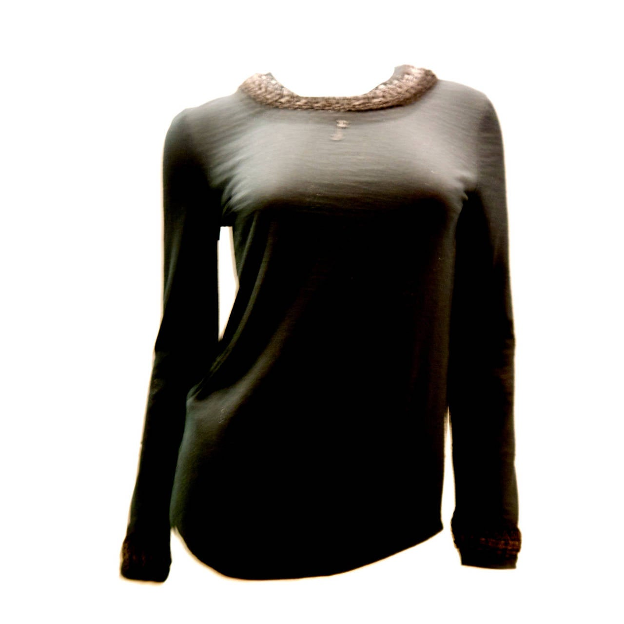 New Chanel Black Top with Intricate Woven Lambskin Collar - Size 36