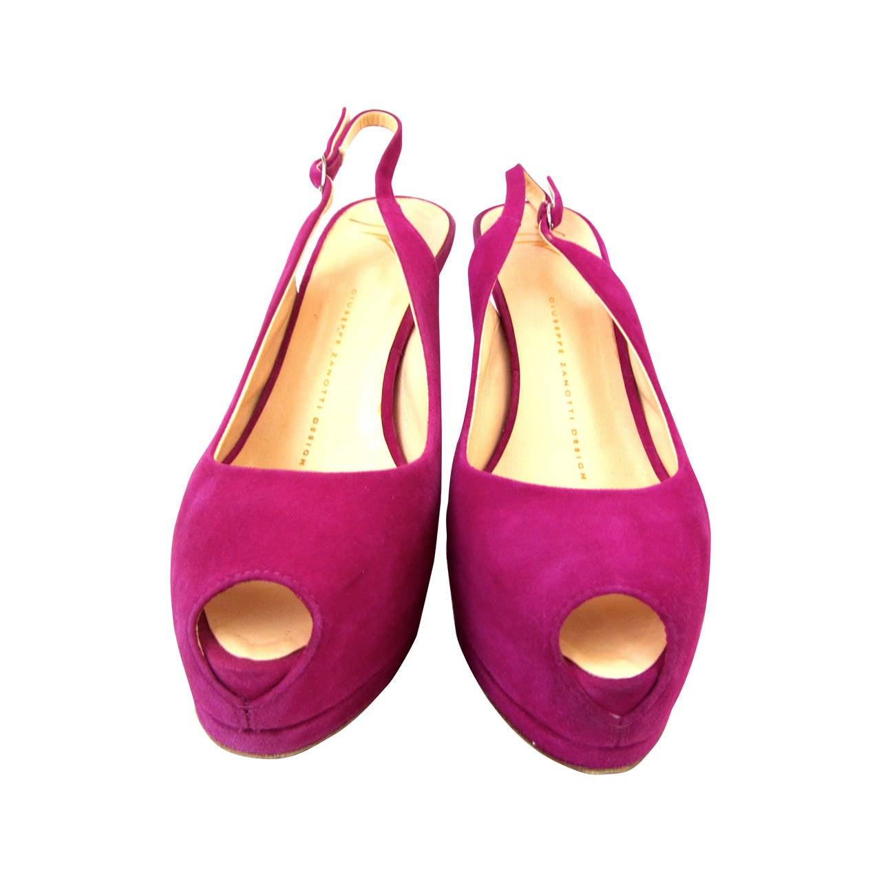 Giuseppe Zanotti Pink Fuchsia Suede Pumps with Heel Strap - Size 37