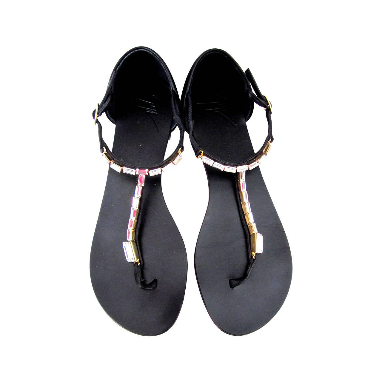 Giuseppe Zanotti Strap Sandals - Size 37 - Black with Rhinestones For Sale