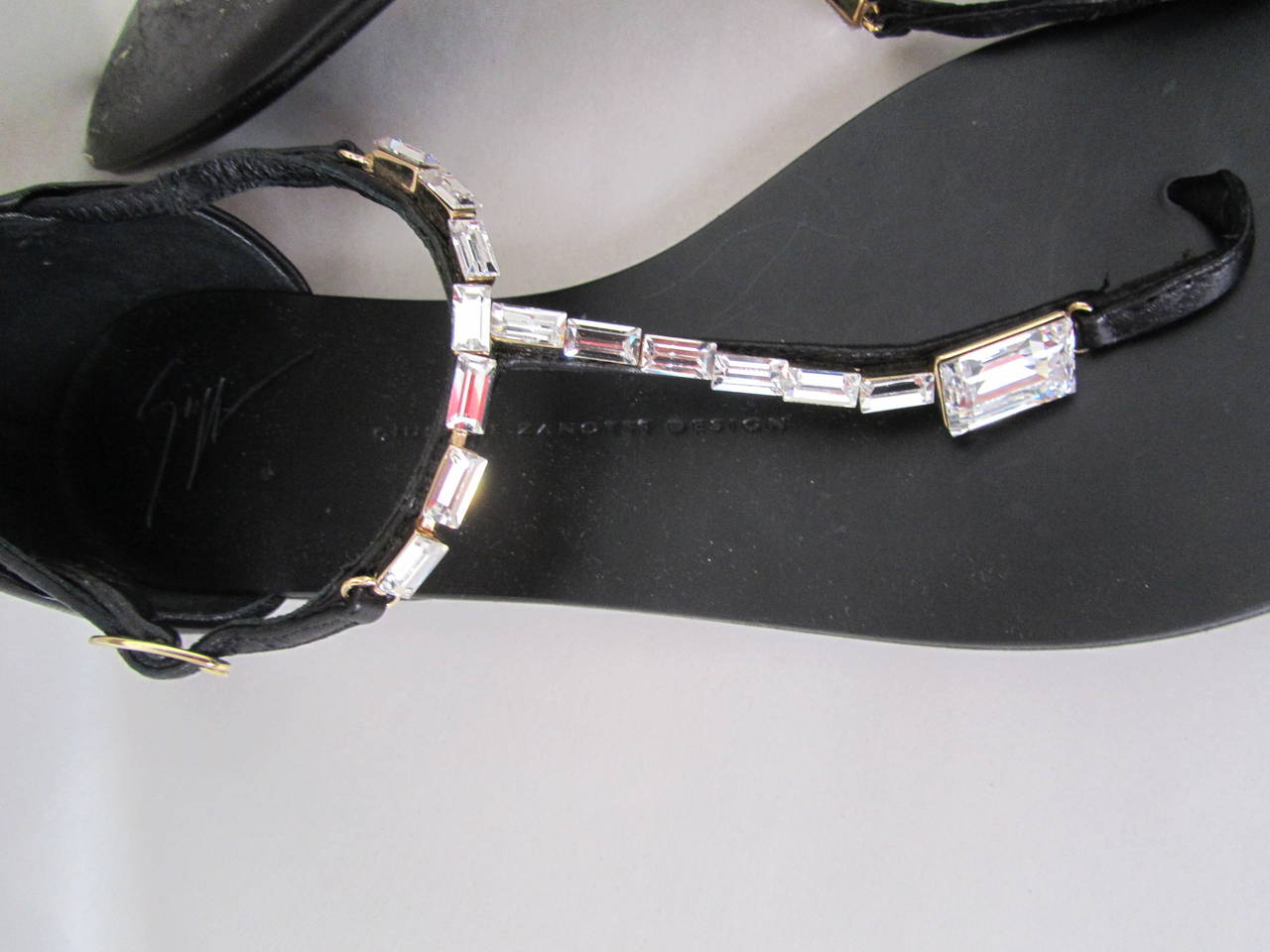 Giuseppe Zanotti Strap Sandals - Size 37 - Black with Rhinestones For Sale 2