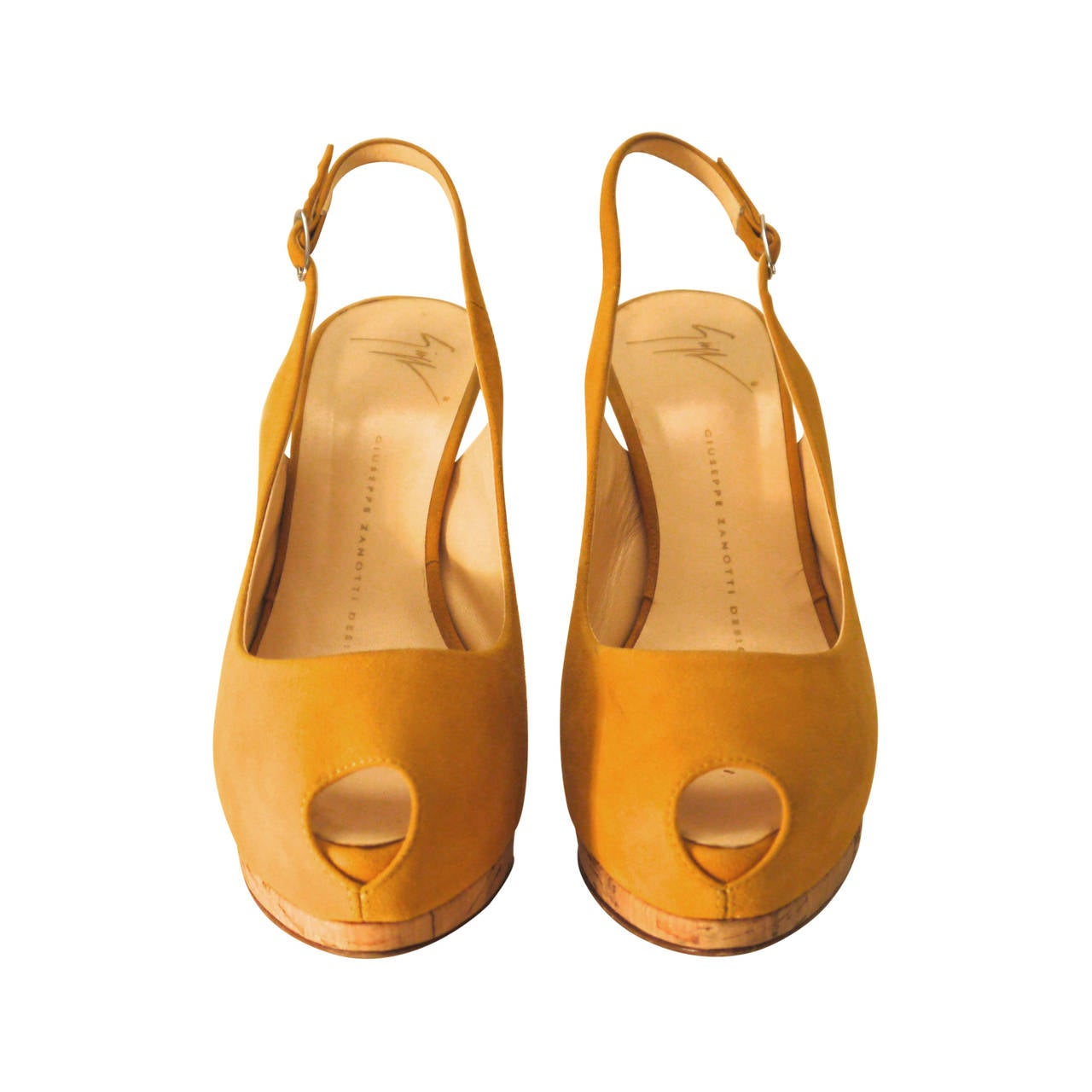 Giuseppe Zanotti Yellow Suede Open Toe Heels with Sling Strap - Size 37 For Sale