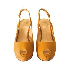 Giuseppe Zanotti Yellow Suede Open Toe Heels with Sling Strap - Size 37