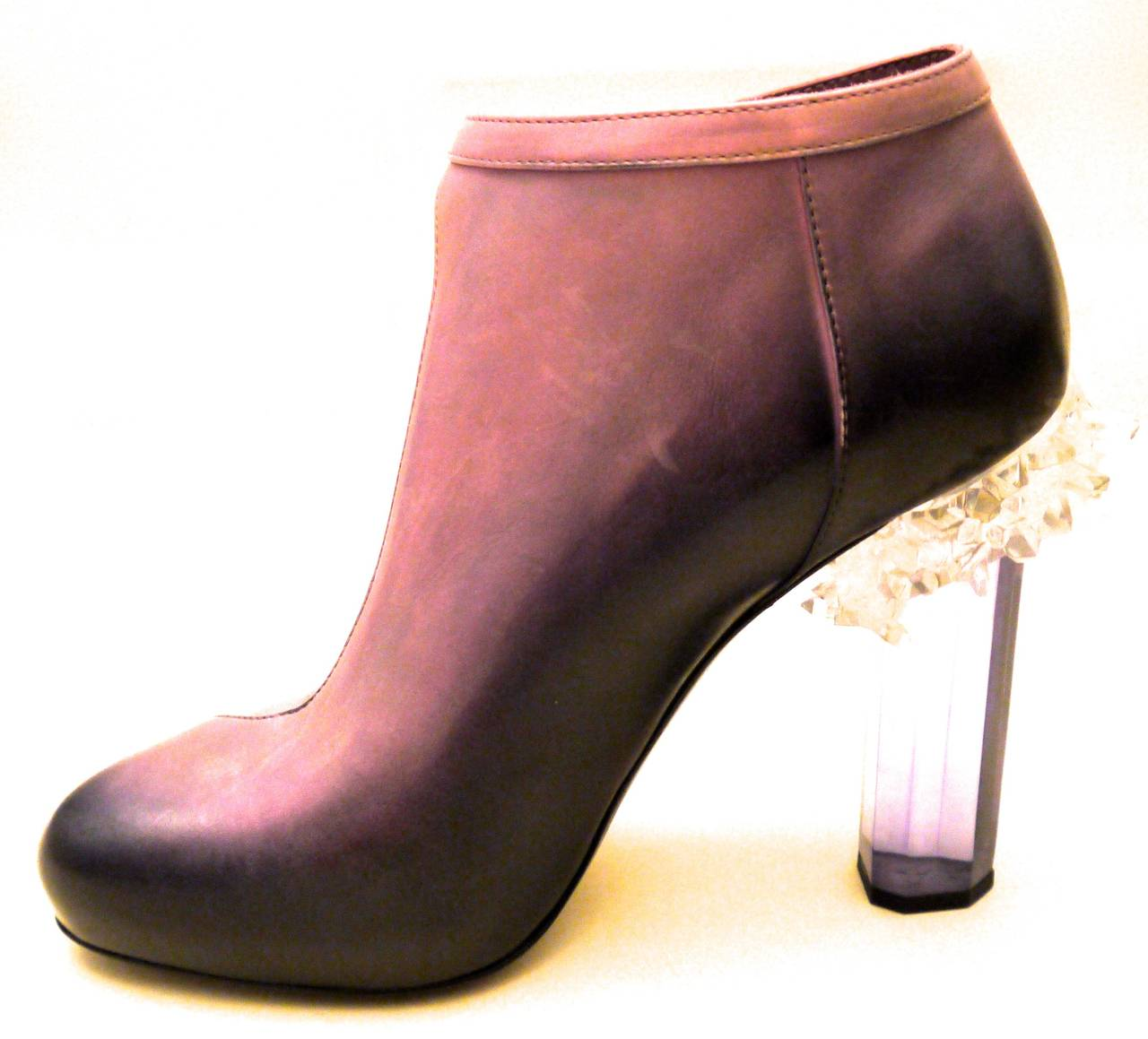 Women's Rare Chanel Runway Boots - Purple and Black - Lucite Heels - Size 37.5 For Sale
