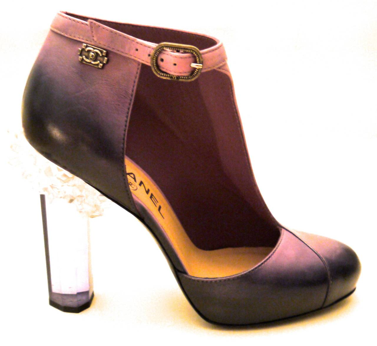 Rare Chanel Runway Boots - Purple and Black - Lucite Heels - Size 37.5 In New Never_worn Condition For Sale In Boca Raton, FL