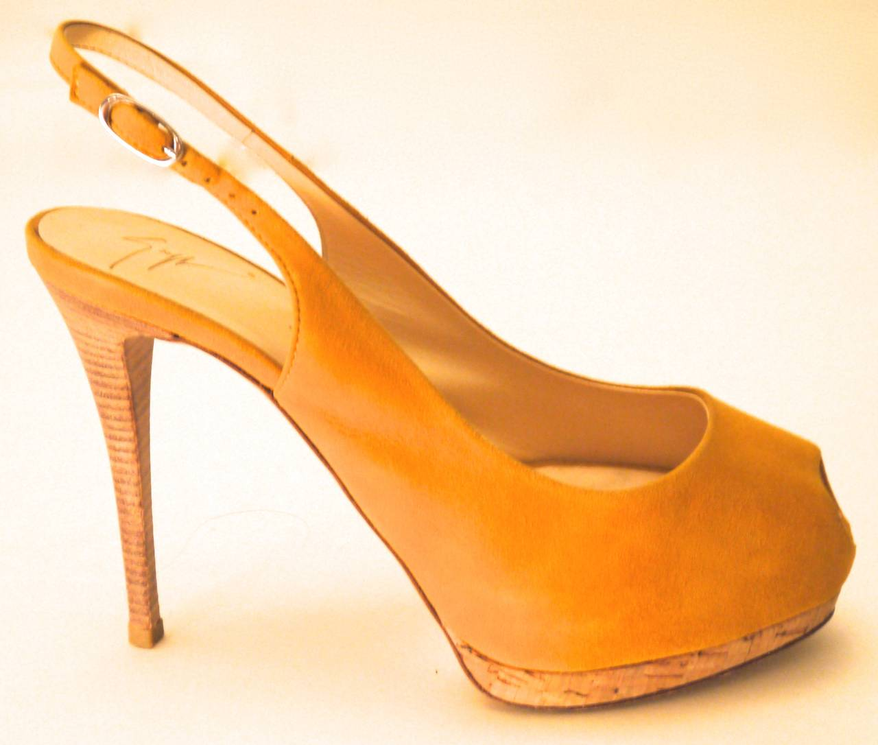 Giuseppe Zanotti Yellow Suede Open Toe Heels with Sling Strap - Size 37 In Excellent Condition For Sale In Boca Raton, FL